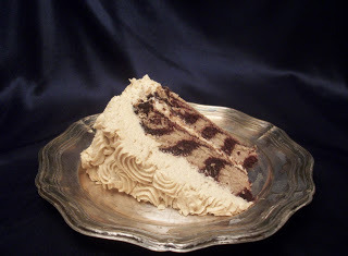 Fit for a Princess: Vegan Peanut Butter Chocolate Zebra Cake with Peanut Butter Cream Frosting